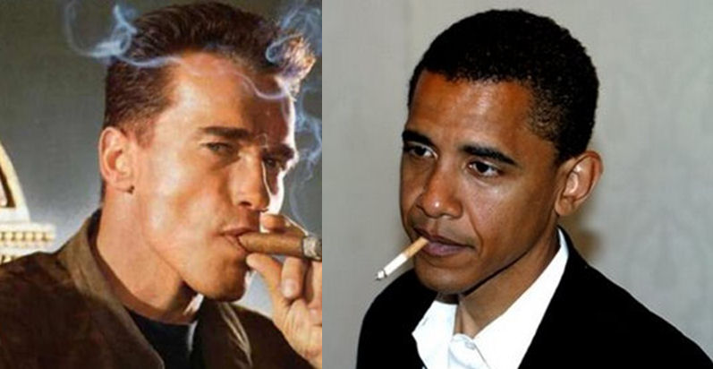 Arnold smoking with Obama